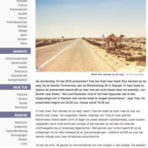 2016 Kameel op de weg in Zwartewaterkrant