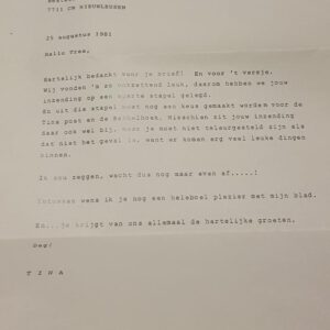 Tina ingezonden brief