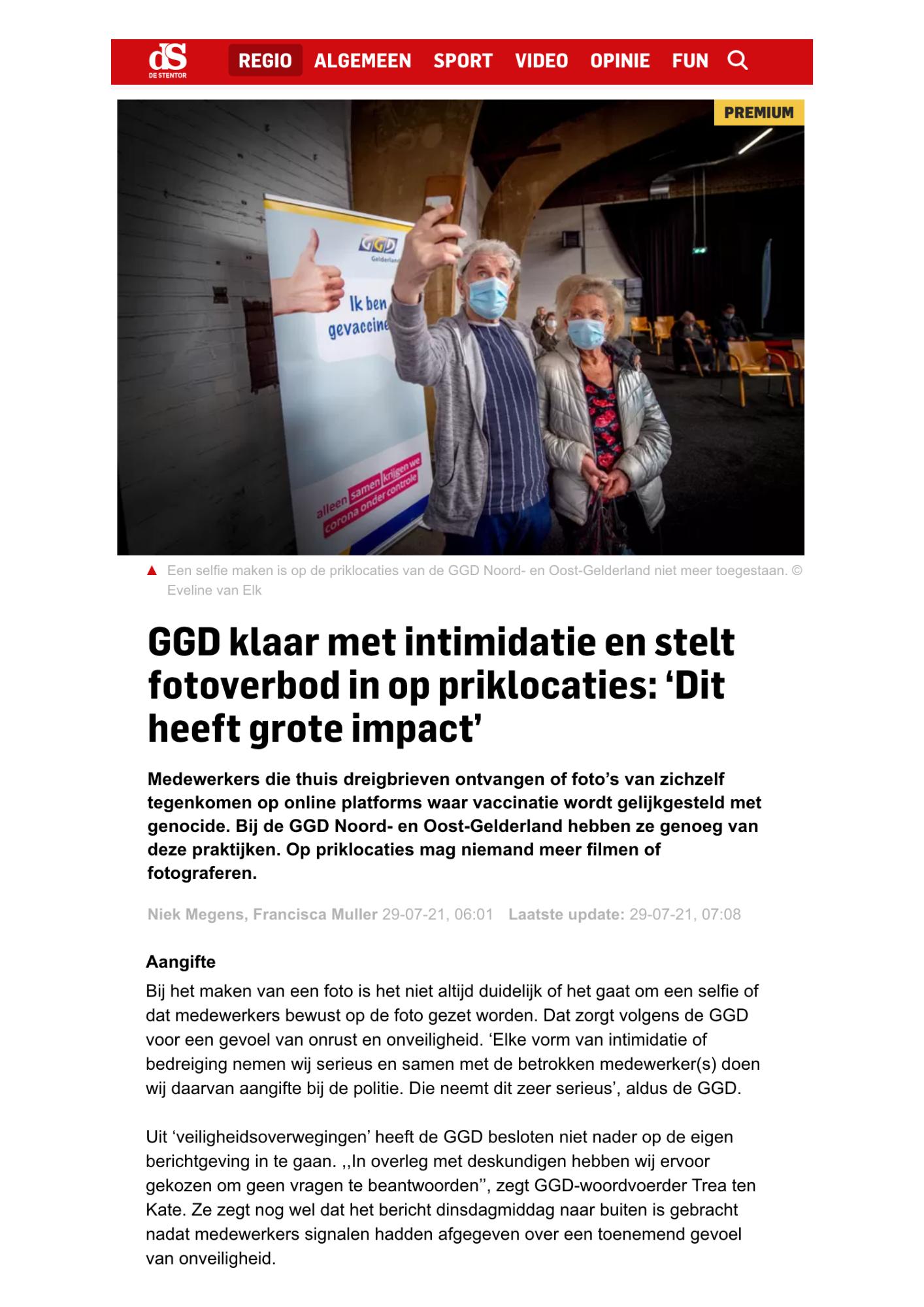GGD klaar met intimidatie - artikel